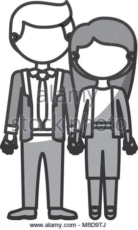 282x470 Silhouette Monochrome Shading Faceless Couple Girl With Pigtails