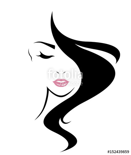 423x500 Women Long Hair Style Icon, Logo Women Face On White Background