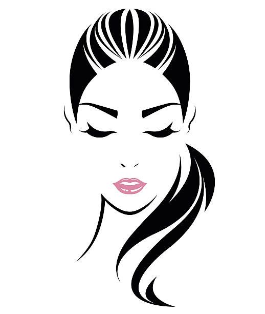 518x612 Women Long Hair Style Icon, Logo Women Face Vector Art