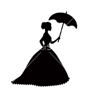 380x400 Retro silhouette of a woman with umbrella vector 1630002  +by+