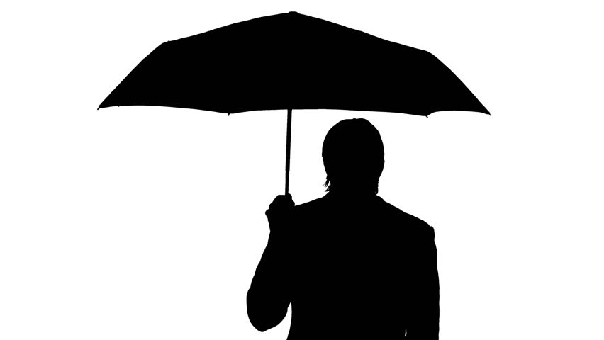 852x480 Silhouette Of A Woman Holding An Umbrella Black Front Silhouette