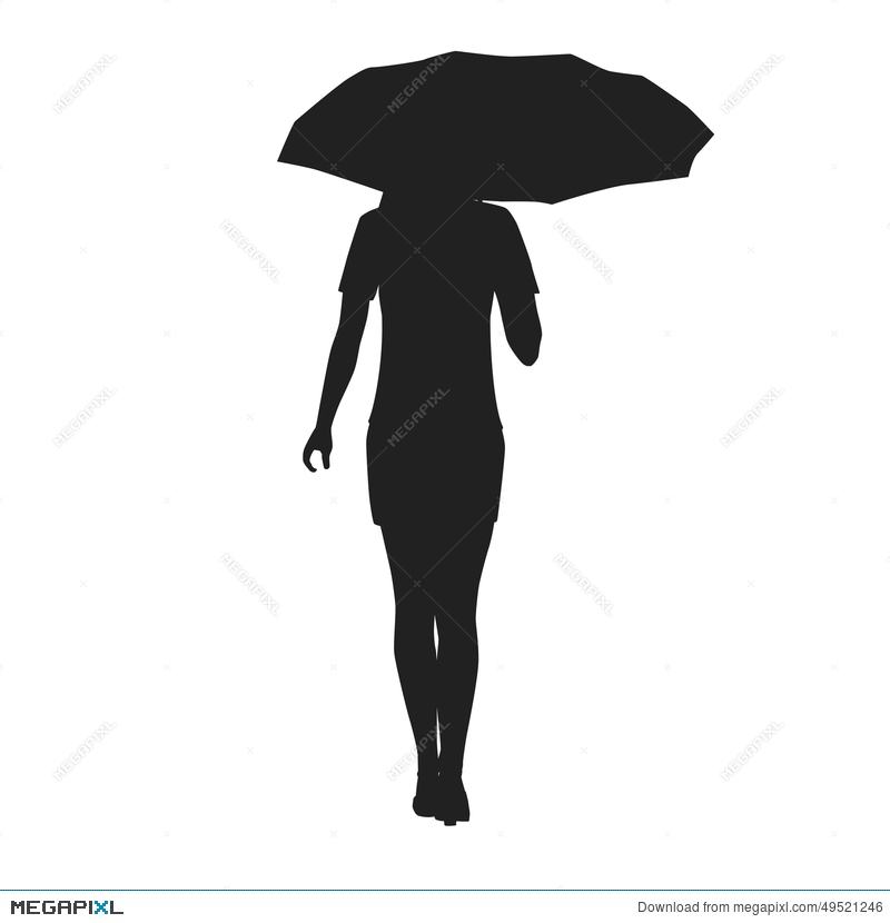 800x830 Silhouette Of A Woman With Umbrella Illustration 49521246