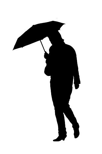 339x509 Silhouette Of A Woman With An Umbrella Premium Clipart