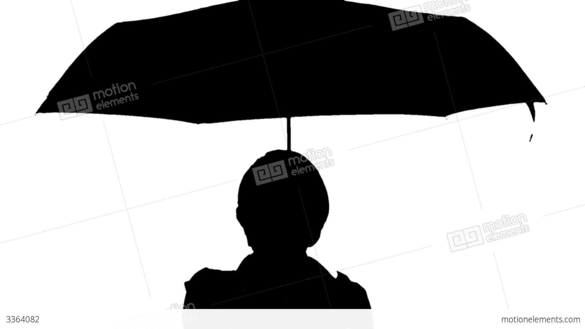 1920x1080 Black And White Image Of A Woman With Umbrella Stock Video Footage