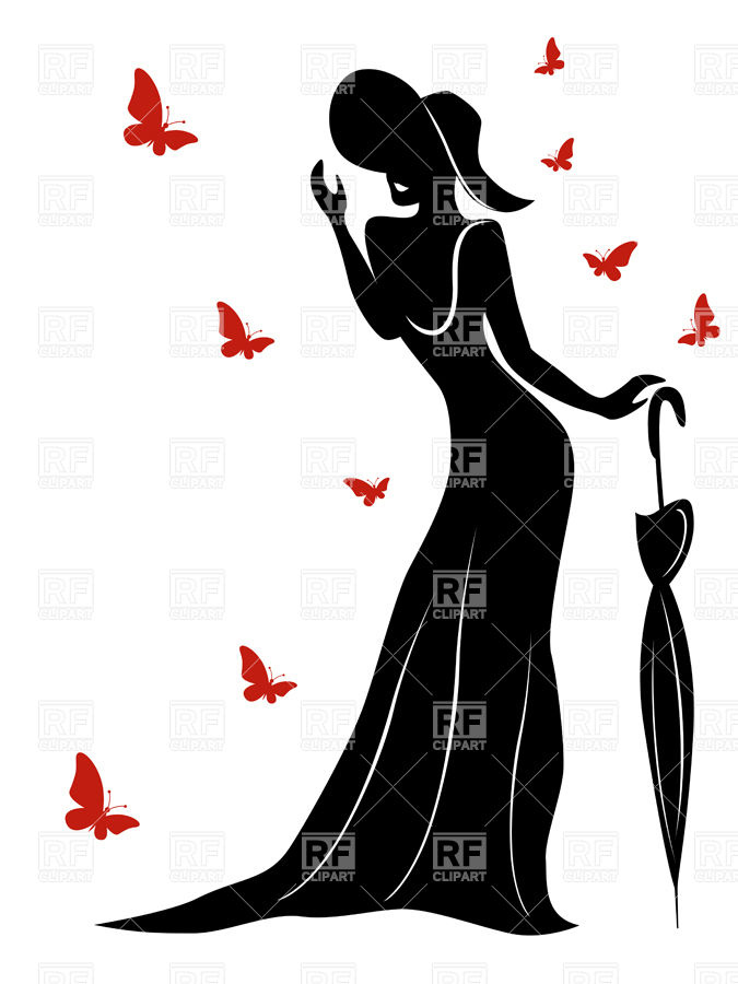 675x900 Silhouette Of Lady In Long Gown And A Hat With An Umbrella And Red