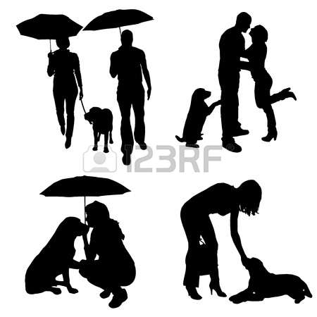 450x450 Woman Umbrella Walking Dog Silhouette Clipart