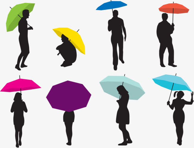 650x497 Man And Woman Umbrella Silhouettes, Woman, The Man, Contour Png