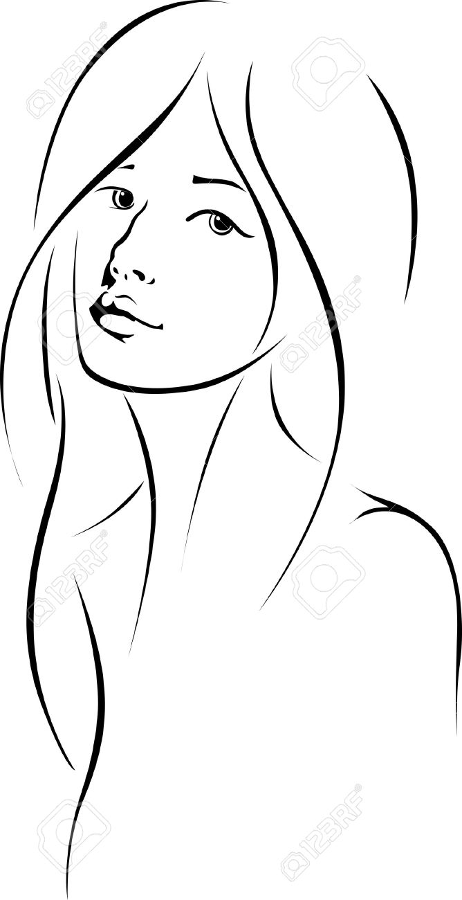 668x1300 Photos Line Drawing Woman Face,