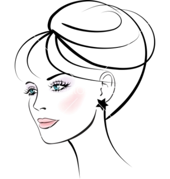 570x600 Woman's Face Outline Clipart