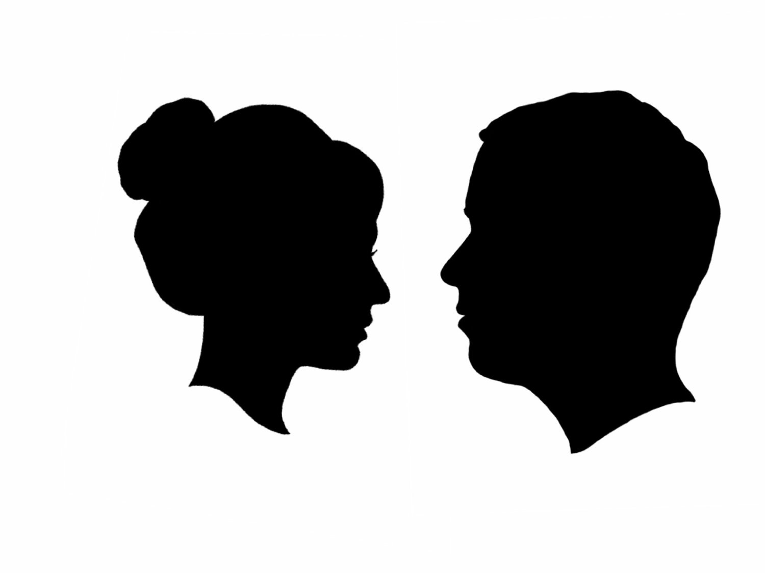 1500x1125 Side Face Silhouettes Clipart 2200733. Human Head Silhouette Face