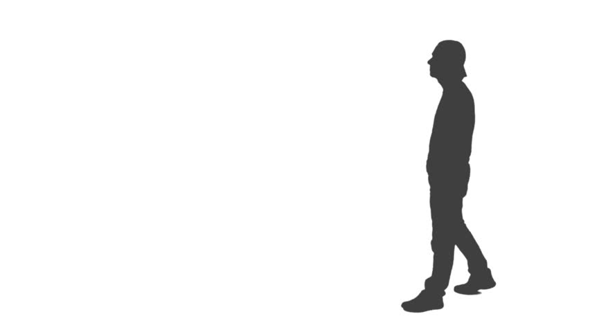 852x480 Silhouette Of Walking Young Man With A Smartphone, He Makes