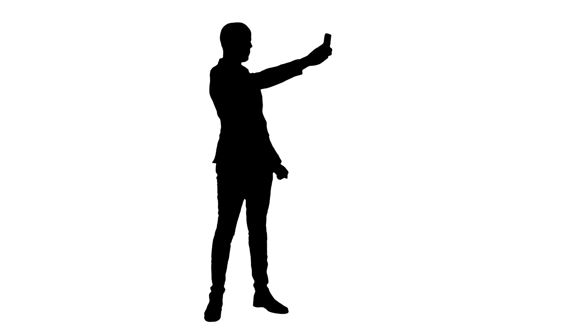 1920x1080 Silhouette Young Man In Suit Taking Selfies On The Phone Stock
