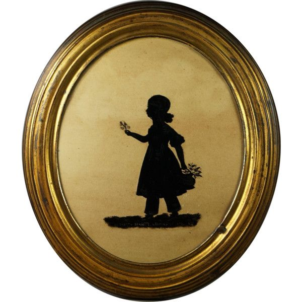 600x600 English 19th Century Oval Silhouette On Glass Little Girl