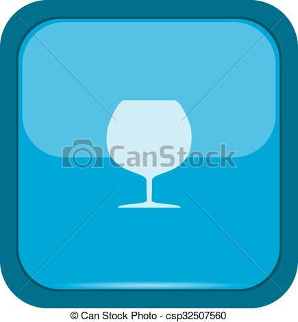 435x470 Glass Silhouette On A Blue Button Clip Art Vector