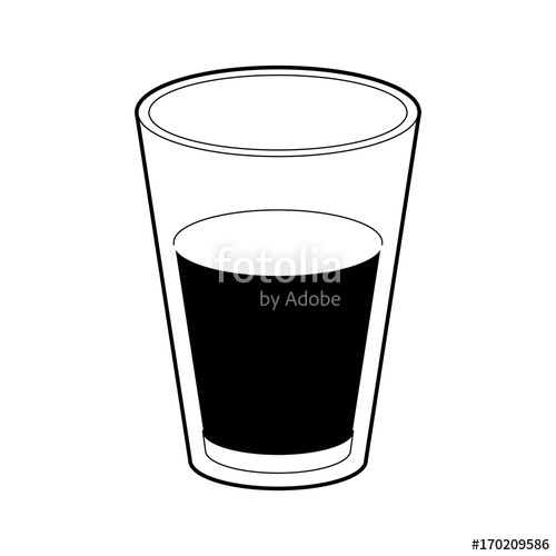 500x500 Glass Of Milk Black Color Section Silhouette On White Background