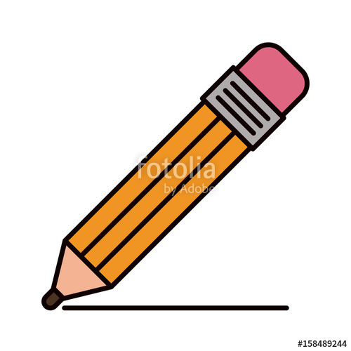 500x500 Color Sketch Silhouette Pencil With Eraser And Drawn Line Vector