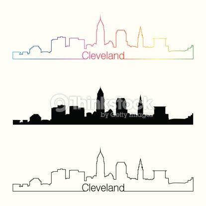414x414 Cleveland Skyline Silhouette Outline