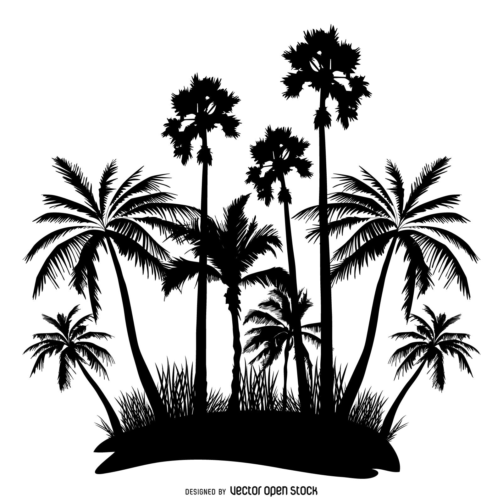 1600x1600 Illustrated Palm Trees Silhouettes In Black Over White. Design