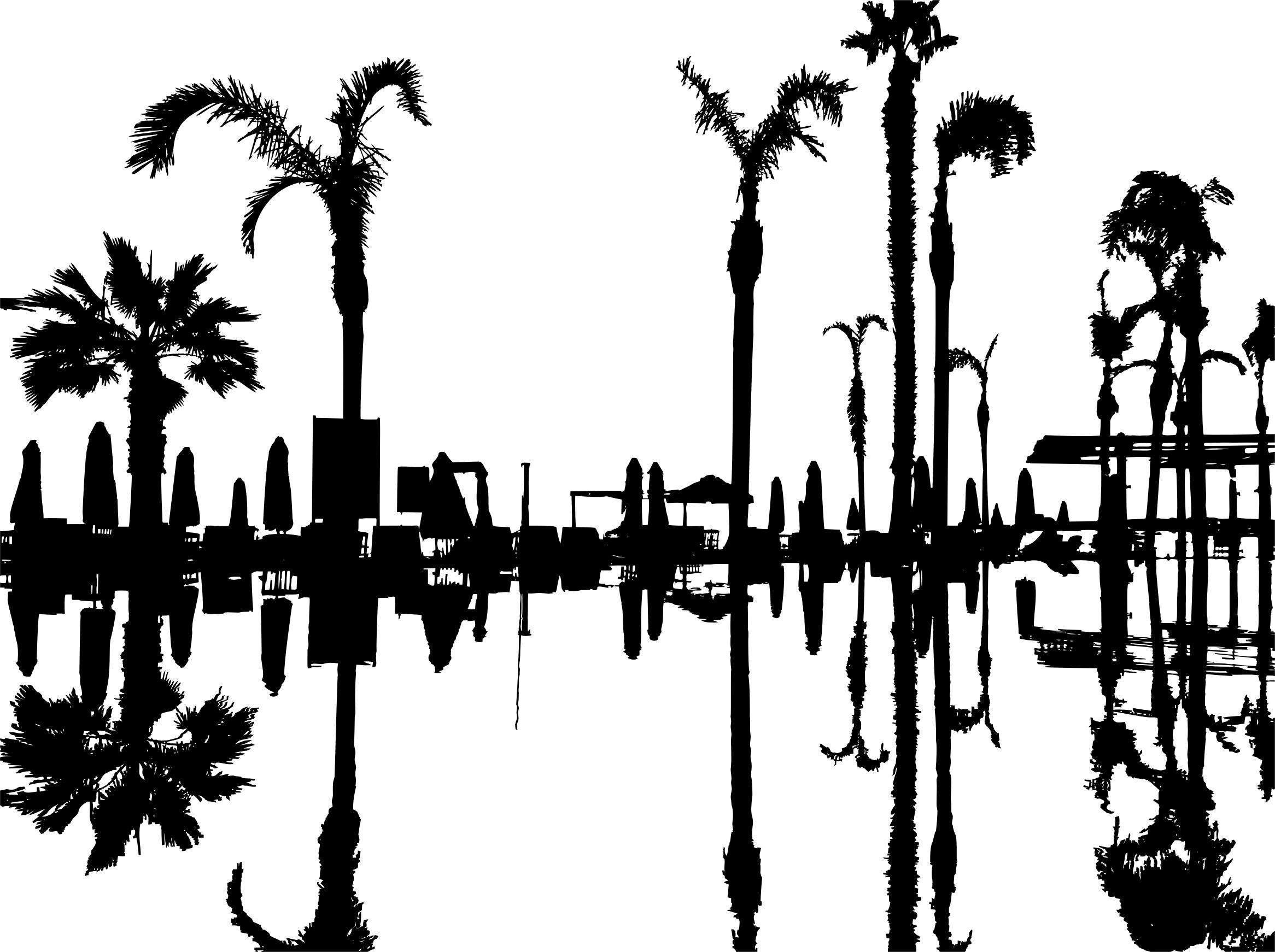 2332x1742 Palm Trees Reflection Silhouette Icons Png