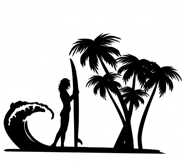 615x545 Surfer Palm Trees Clipart Free Stock Photo