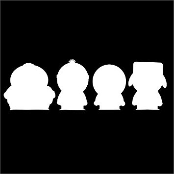 355x355 South Park Silhouette White Vinyl Carlaptopwindow