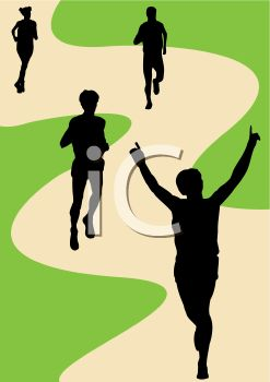 247x350 Royalty Free Clipart Image Silhouette Of People Jogging On A Path