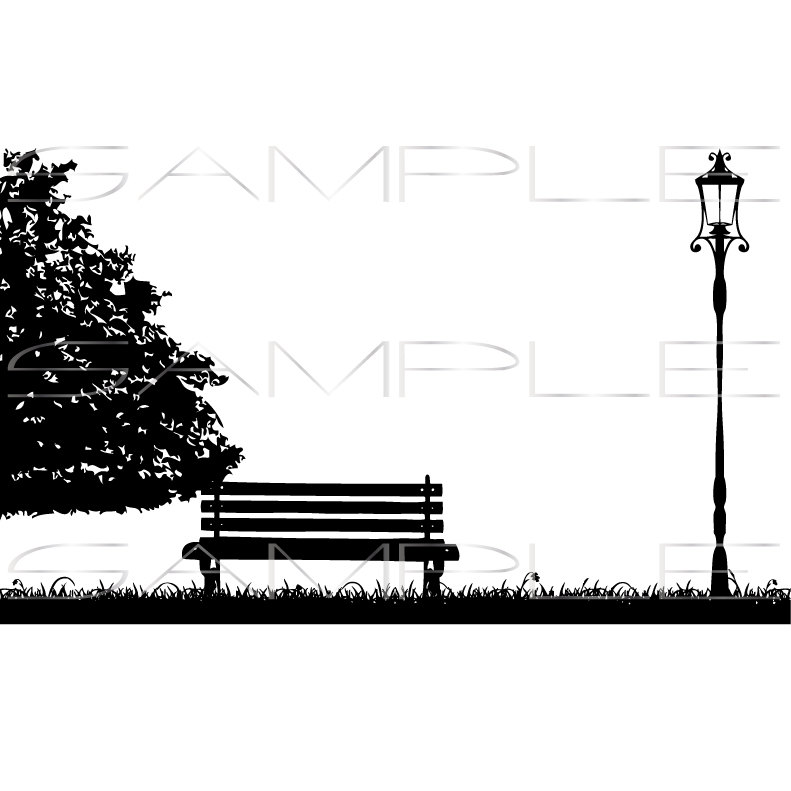 791x791 Silhouette Of Tree Park Bench Grass And Street Lamp