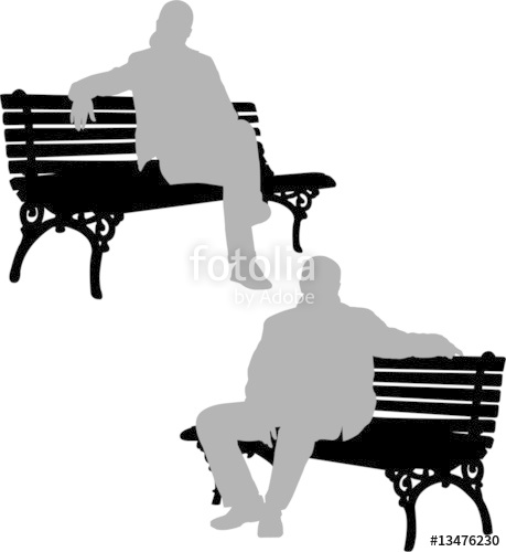 459x500 Silhouettes Of Man And Woman Sitting On The Park Bench