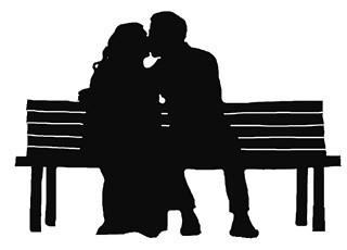 320x230 Couple Kiss Park Bench Svg