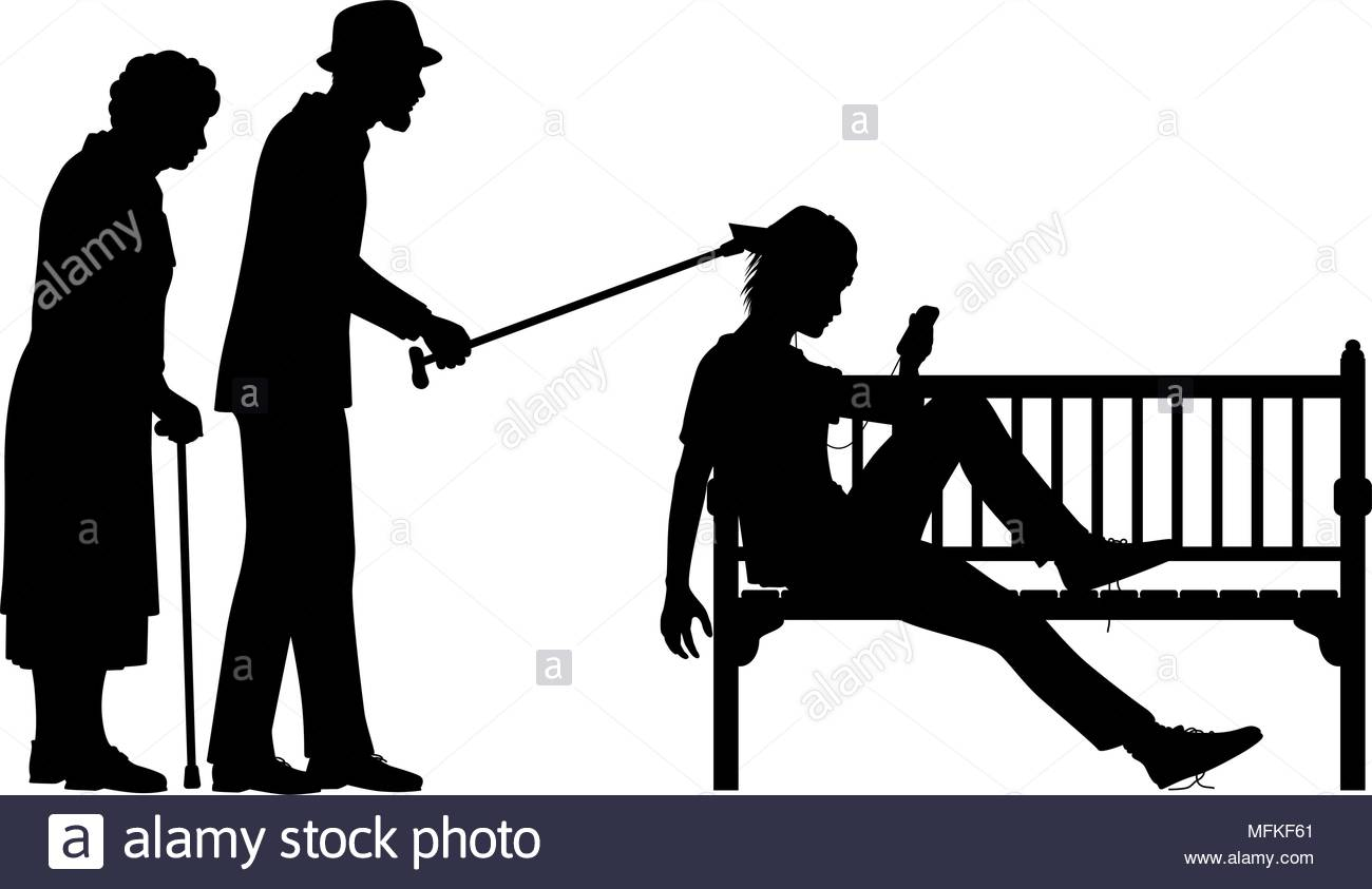 1300x843 Editable Vector Silhouette Illustration Of An Elderly Couple