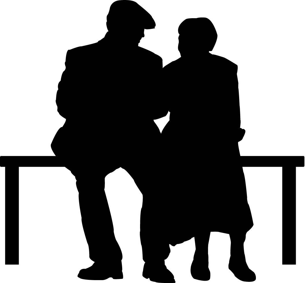 1056x980 Elderly Couple On Park Bench Silhouette Wall Decals, Wall