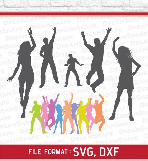 570x621 Party People Svg Files, Silhouette Svg Cut File, Party People Svg
