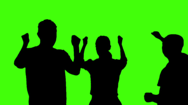 640x360 Silhouette People Party On Green Screen Stock Video Footage 7486095