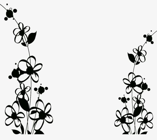 650x579 Black Silhouette Vegetation Pattern Decoration, Black, Pattern