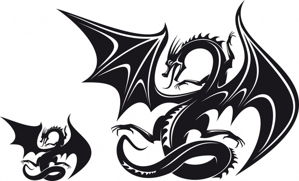 600x363 Dragonshaped Pattern Silhouette Pattern Vector Free Vector