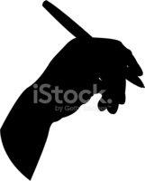 161x200 Hand Holding Pen In Silhouette Stock Vectors