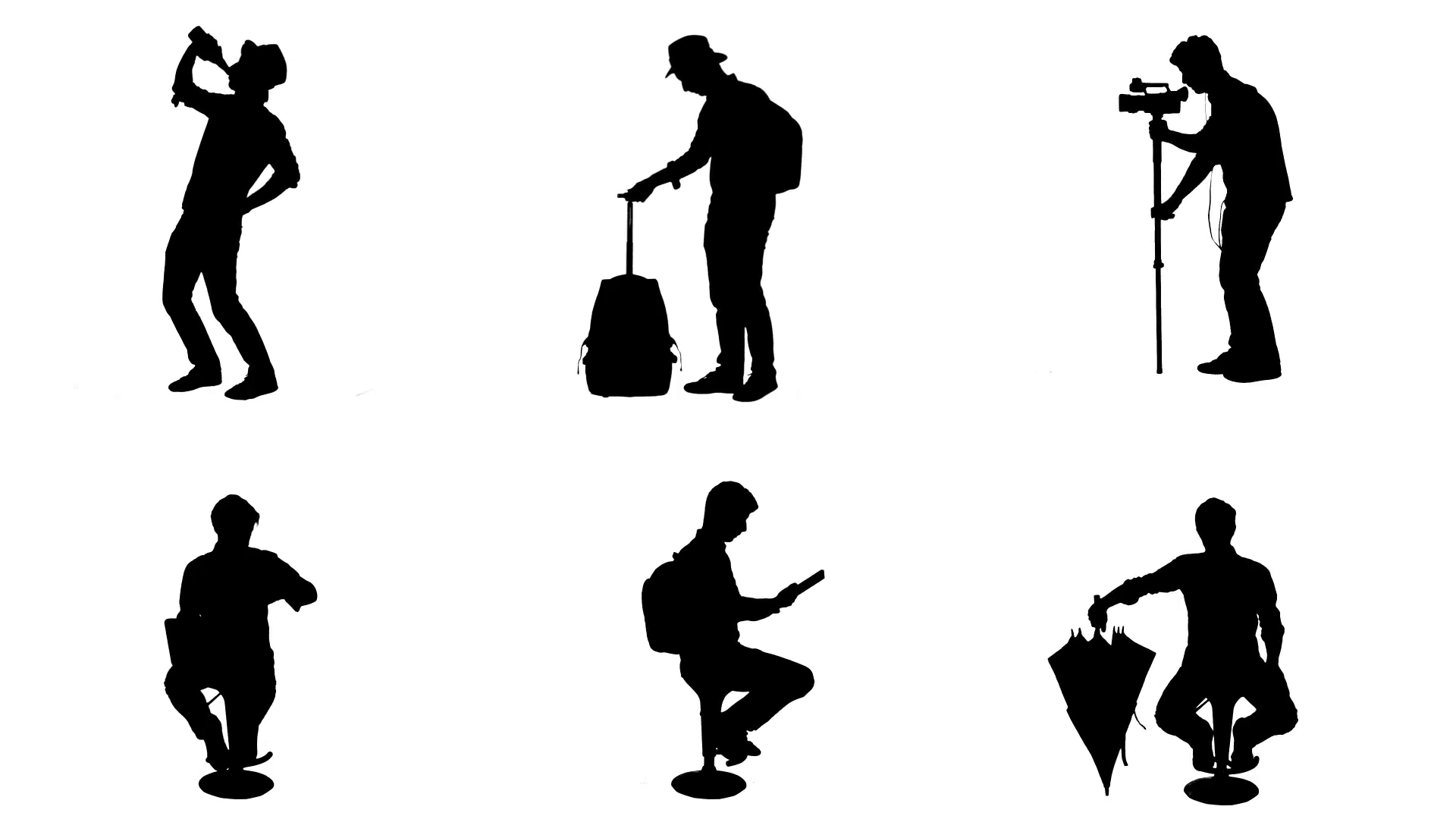 1920x1080 Silhouette People Different Actions