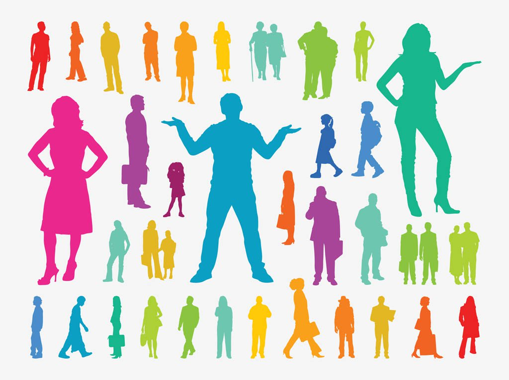 1024x765 Colorful People Silhouettes Vector Art Amp Graphics