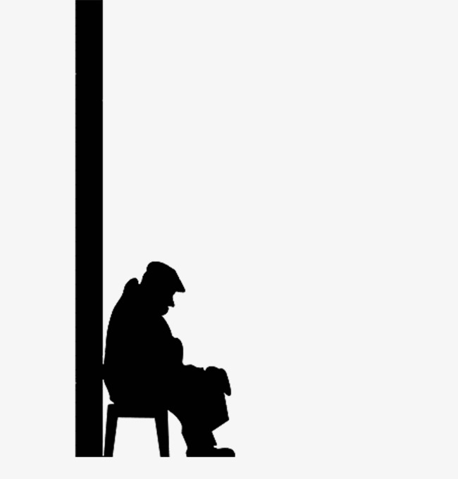 650x680 Silhouette Of Man Sitting Against The Wall, Wall People, Sit, Old