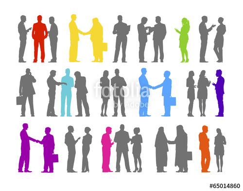 500x393 Colorful Silhouette Of The Business People Greeting And Talking