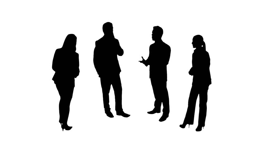 852x480 Multiple Silhouettes Of Business People Talking Or Using Mobile