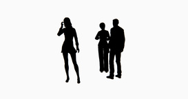 273x144 4k Business People Silhouette Talking Or Using Mobile Phones Stock