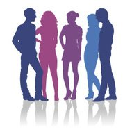 190x190 People Talking To Each Other Silhouettes Set 8 Premium Clipart