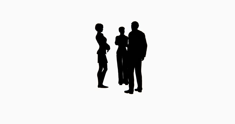 910x480 4k Business People Silhouette Talking. Cg 02751 4k Stock Footage