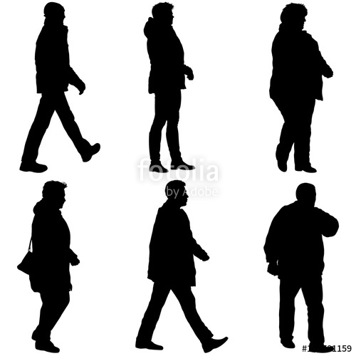 500x500 Set Silhouette Of People Walking On White Background Stock Image