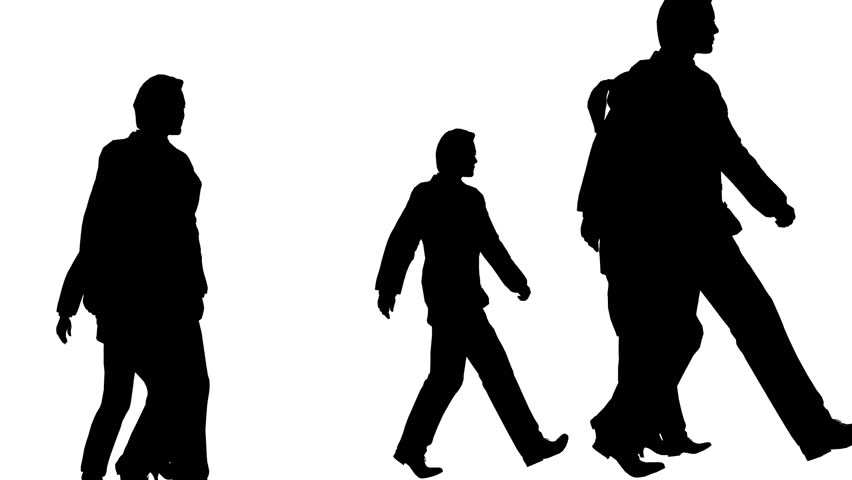 852x480 Silhouette People Walking, Loopable Stock Footage Video 3466181