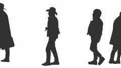 240x135 Silhouettes Of Walking People And Homeless Man Begging On Street
