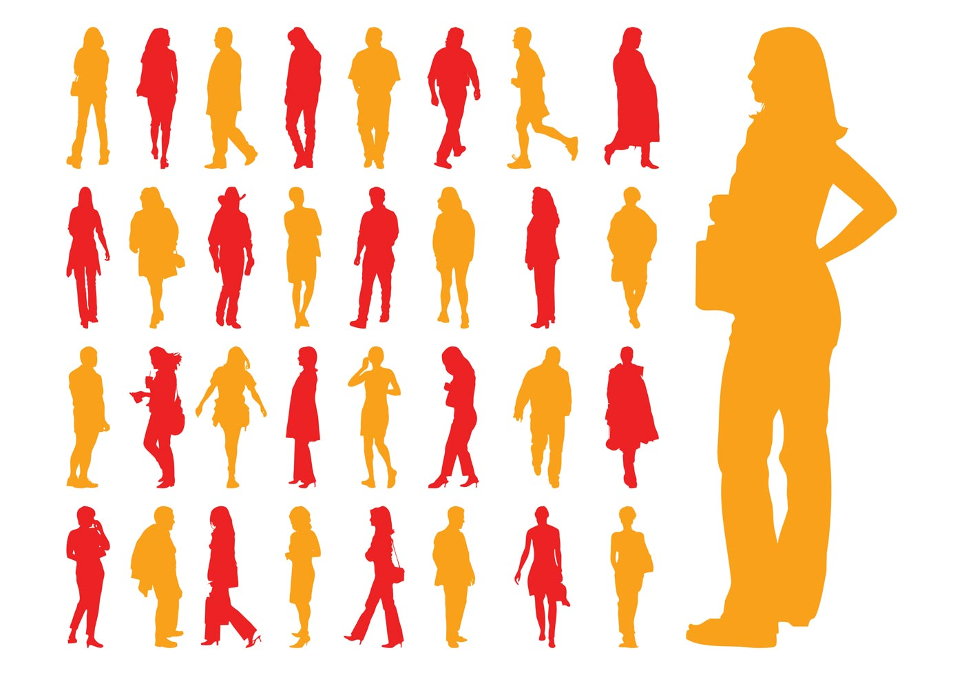 1400x980 Walking Silhouette Free Vector Art