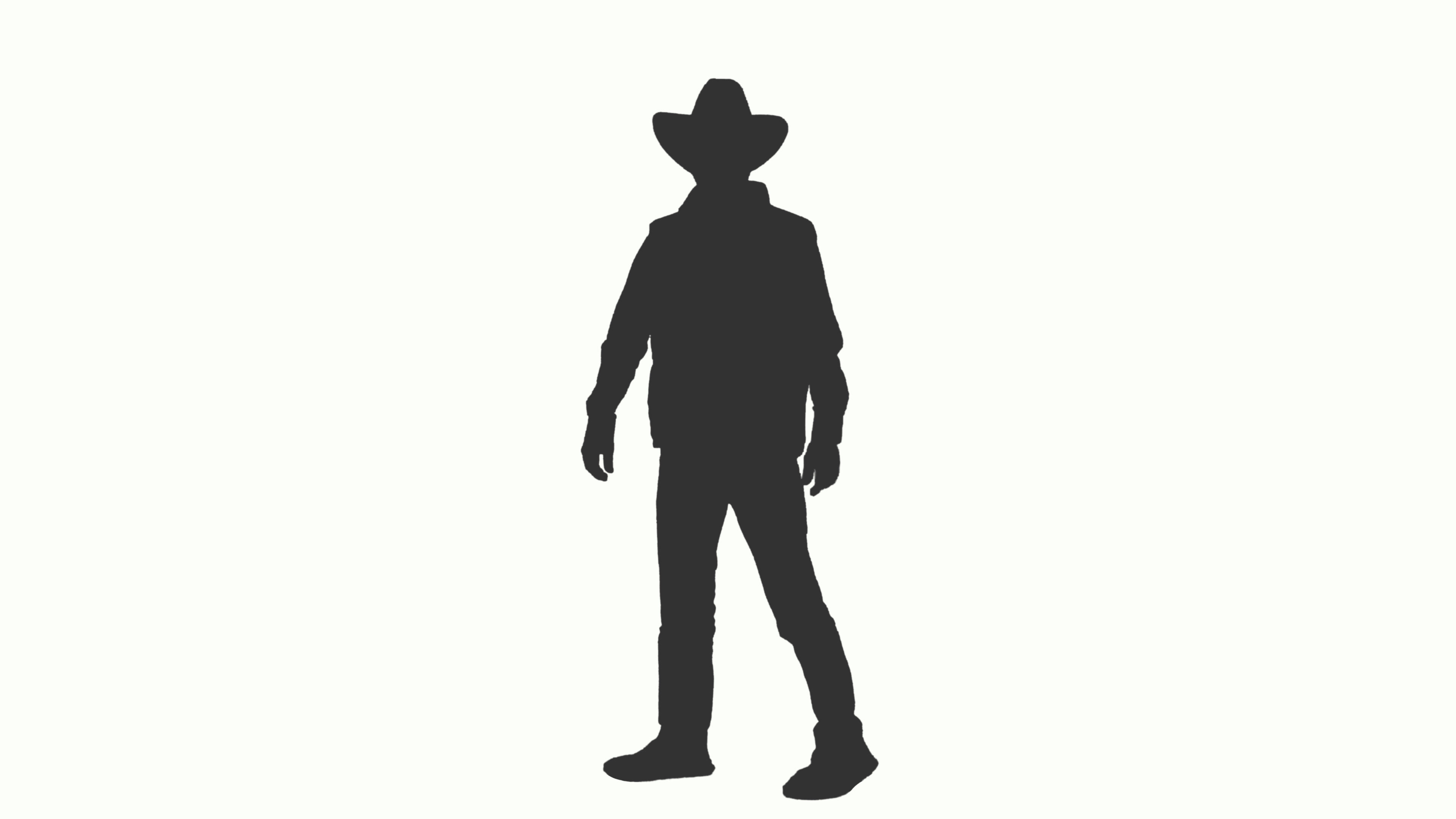 3840x2160 Silhouette Of A Man In Cowboy Hat Walks And Meets Someone, Alpha