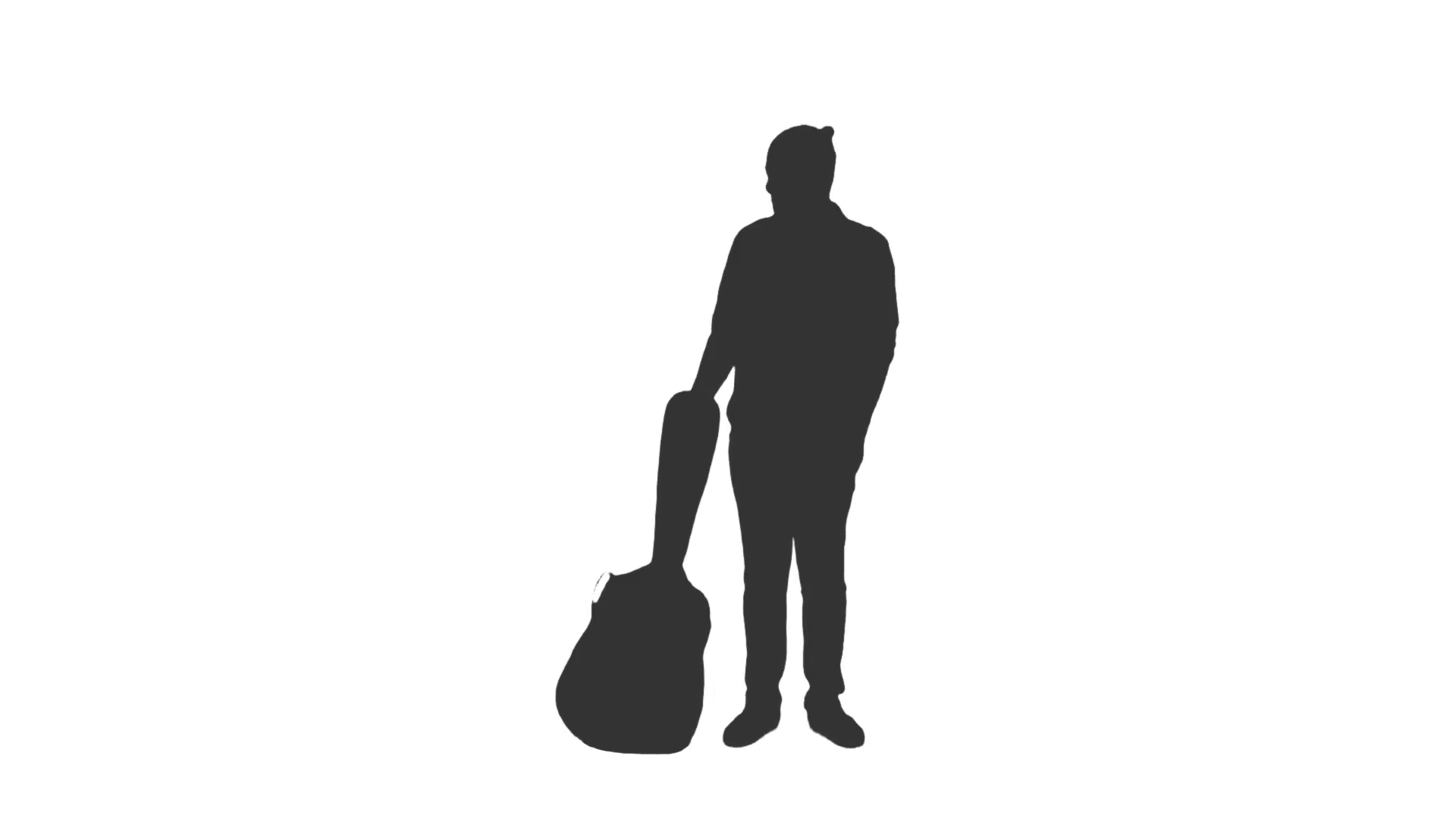 1920x1080 Silhouette Of A Young Man Walking With A Guitar. Side View. Full